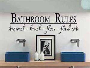 Bathroom wall decal bathroom rules wash brush floss flush bath for Wall art stickers for bathrooms