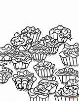 Coloring Zentangle Cupcakes Colorare Desery Cupcake Drukuj sketch template