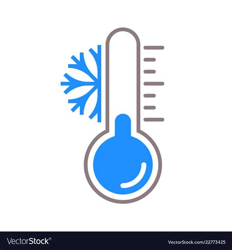 Thermometer snow cold temperature icon Royalty Free Vector