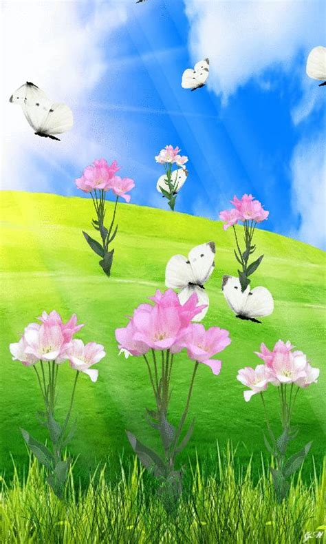 Animated Moving Flower Wallpaper - animated 480x800 171 flowers butterflies 187 cell