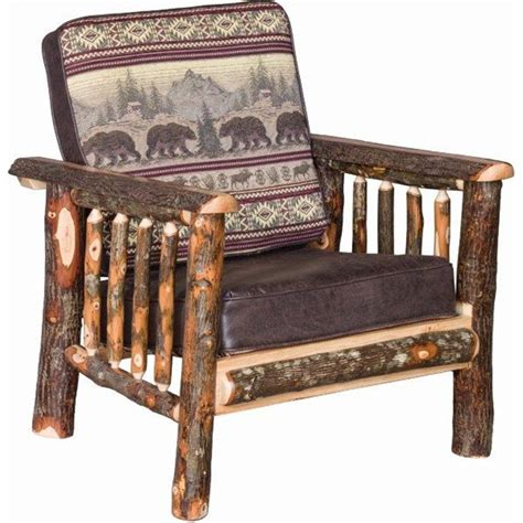 rustic hickory log faux leather living room chair
