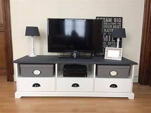 Ikea Meuble De Tv : meuble tv ikea liatorp hack plateau peint en gris et changement deco pinterest meuble ~ Melissatoandfro.com Idées de Décoration
