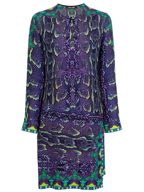 roberto cavalli snakeskin print dress  purple lyst