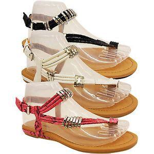 new womens flat wedge heel gladiator toe ring flip flop sandal shoe size ebay