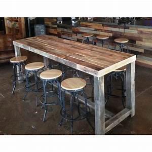 Home Design Charming Narrow Bar Height Table Reclaimed