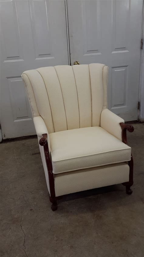white channel  chair upholstery antique restoration