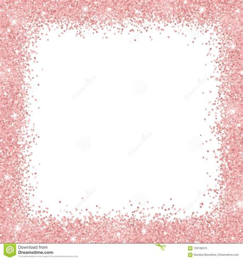 Border Frame With Rose Gold Glitter On White Background