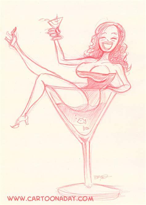 Sexy Woman Martini Glass Cartoon