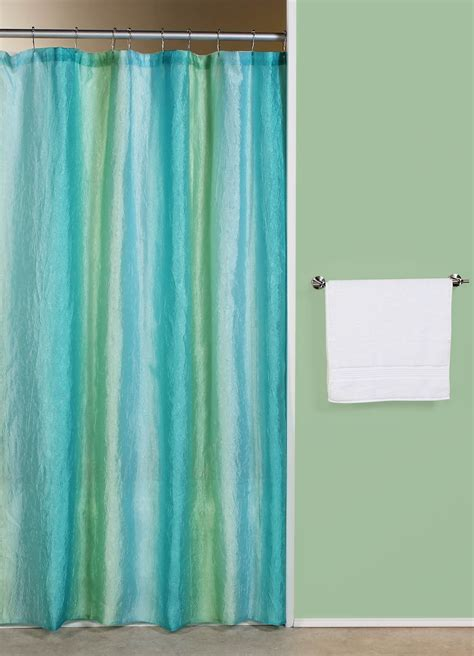 Curtain & Bath Outlet  Ombre Bluegreen Fabric Shower Curtain