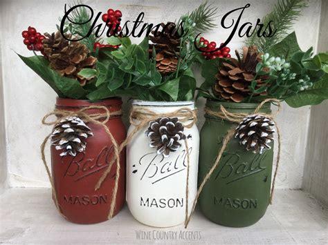 Painted Mason Jars Christmas Decor Vase Home Decor Holiday