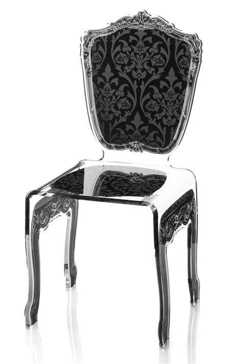 chaises plexiglass chaise plexiglas transparent baroque motif noir