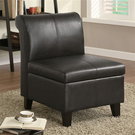 black armless leather accent chair with storage and wooden