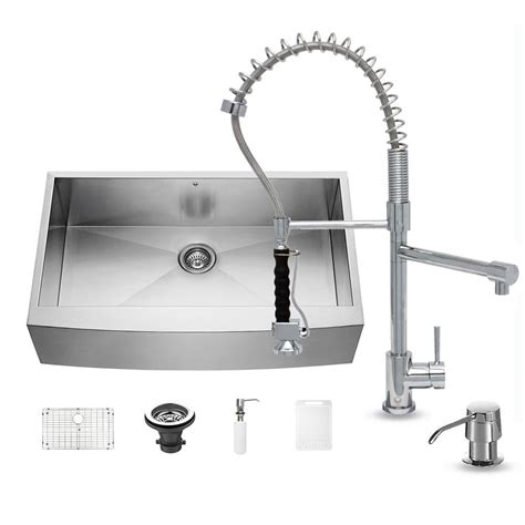 chrome kitchen sink vigo all in one farmhouse apron front stainless steel 36 2201