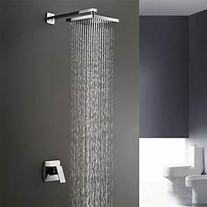 Chrome Finish Wall Mount Rain Single Handle Shower Faucet