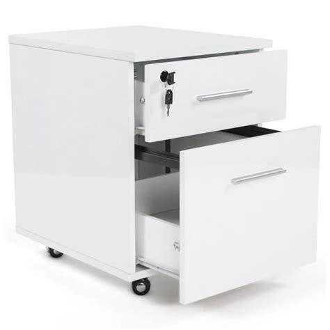 caisson 2 tiroirs en bois mdf laqu 233 blanc achat vente caisson de bureau caisson 192