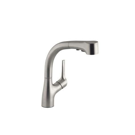 kohler elate single handle pull  sprayer kitchen faucet  vibrant stainless   sd