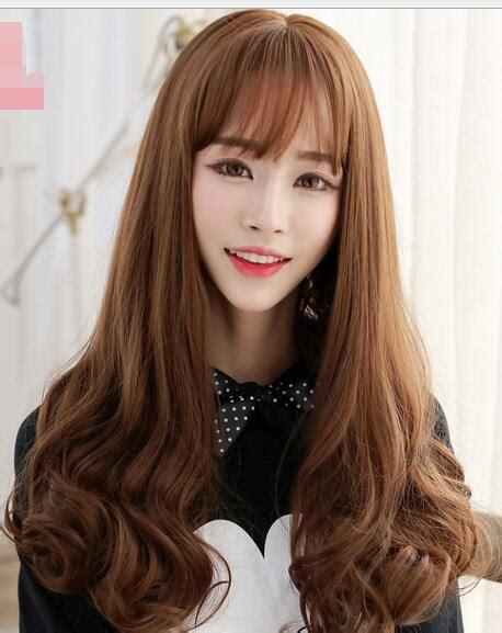 girl  long curly hair wig pear long hair cute