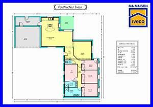 plan maison plain pied 4 chambres gratuit With plan maison 4 chambres gratuit