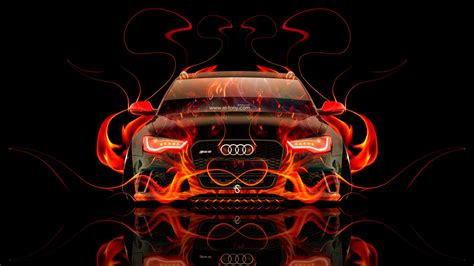audi rs front fire abstract car  el tony