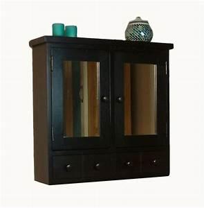 Nara dark wood bathroom furniture wall cabinet mirror ebay for Dark wood bathroom cabinet with mirror