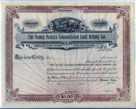 gold mining stock certificate ebay