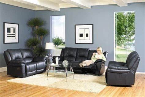 Teramo Black Leather Match Reclining 3pc Living Room Group