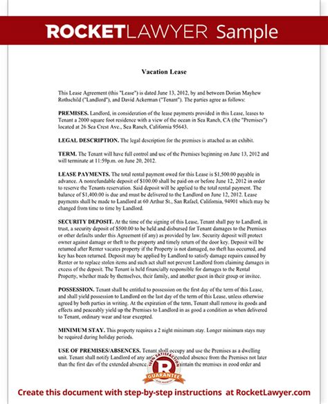 short term rental lease vacation lease agreement template