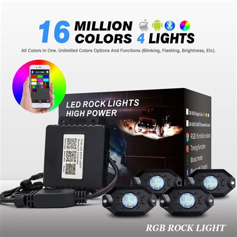 rgb rock lights bluetooth app weisiji 1set 4 pods with cree chips car decorate phone