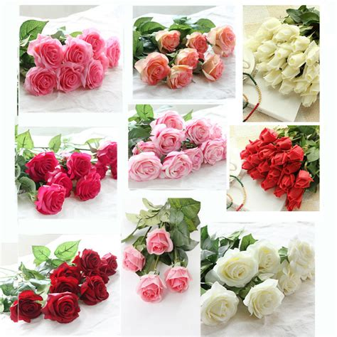 head artificial silk fake real touch rose flower stem