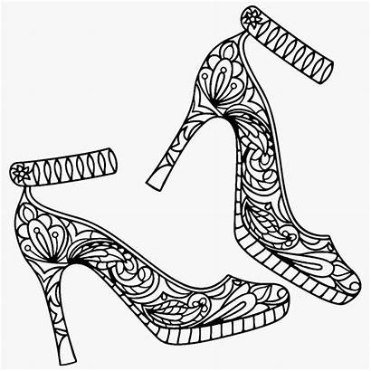 Coloring Pages Shoes Heel Colouring Adult Adults