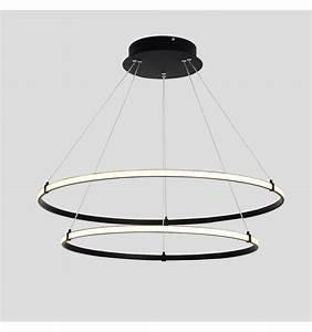Lustre Suspension Design : lustre suspension led deux anneaux noirs ozzello ~ Teatrodelosmanantiales.com Idées de Décoration