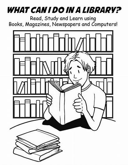 Library Coloring Pages Clipart National Week Clip