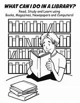 Library Coloring Pages National Week Clipart Cartoon Clip sketch template