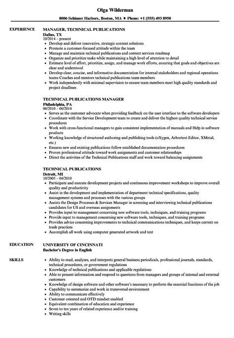 technical publications resume sles velvet