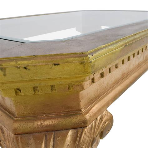 gold and wood coffee table 75 off distressed wood antique gold and glass coffee