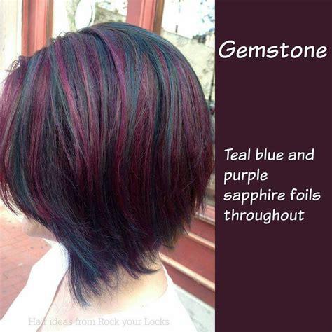 teal purple highlights good hair day  short medium