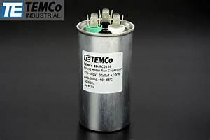Temco 30  5 Mfd Uf Dual Run Capacitor 370 440 Vac Volts Ac