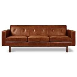 gus embassy modern saddle brown leather sofa eurway