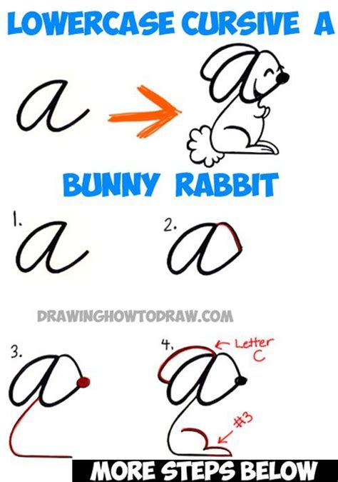 How To Draw A Cartoon Bunny Rabbit From A Cursive Letter With Lowercase Cursive Letter A Easy