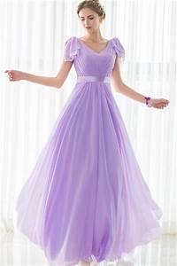 sheath v neck long lilac chiffon wedding guest bridesmaid With lilac dress for wedding guest