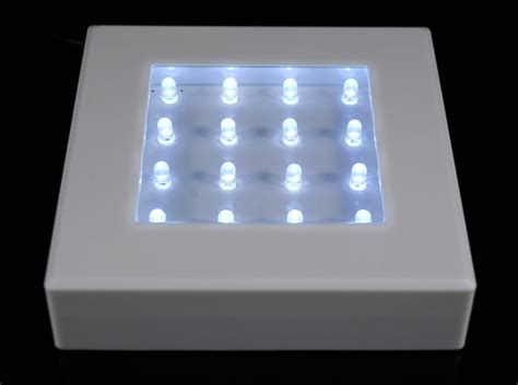 white  square light base  leds cool white battery
