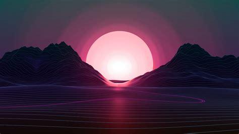retrowave lines ocean hills sunset vector preview