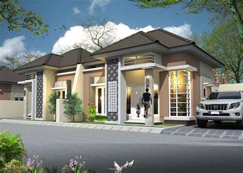 desain depan rumah pake batu alam sinergi stone