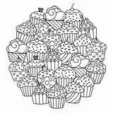 Cupcakes Mandala Cakes Coloring Cute Cup Circle Mandalas Pages Adult Cake Delicious Simple Round Composing Colors Favorite These Those Perfect sketch template