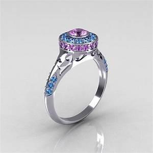 Modern antique 950 platinum lilac amethyst aquamarine for Exclusive wedding rings