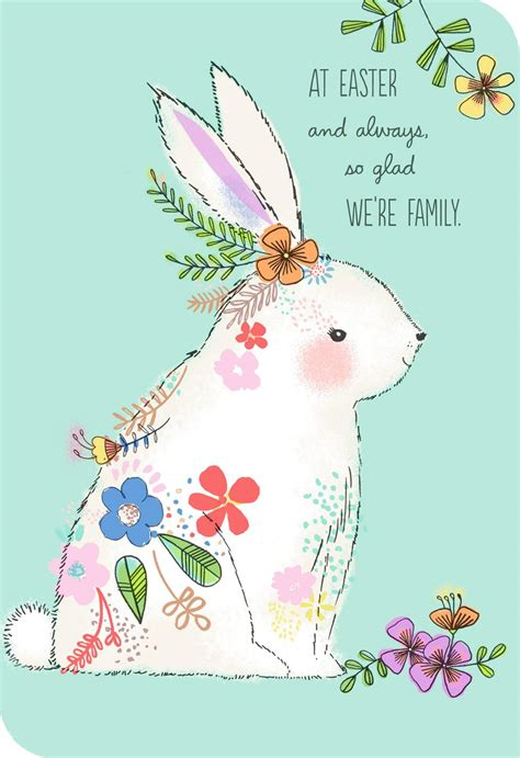 white bunny  flowers easter card  relative
