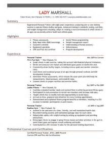 personal trainer resume sle no experience personal trainer resume best template collection