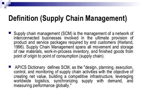 definition of modern management cut costs using modern supply chain management practices