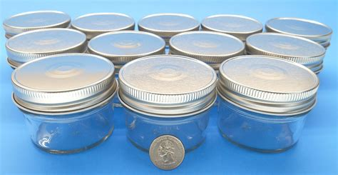 (set Of 12) 4 Oz Mason Jars With Smooth Sides Easy To Label With Silver Finished Safety Button