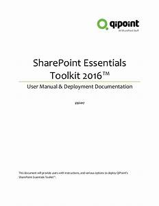 Share Point Essentials Toolkit 2016 User Guide